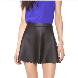 Club Monaco Black perforated faux leather skirt